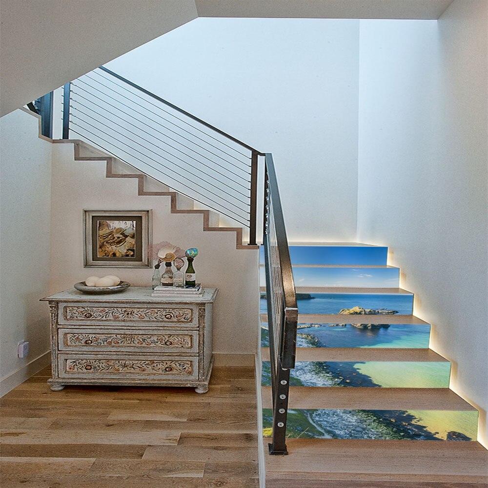 6 unids/set hermoso mar azul del Golfo adhesivo para escalones DIY extraíble escalera hogar Decoración para paisajismo casa creativa decoración caliente