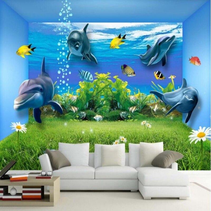 Beibehang de papel pintado murales HD mundo submarino 3D estéreo delfín pared del dormitorio Pared de TV papeles pintados de fondo para pared 3 d
