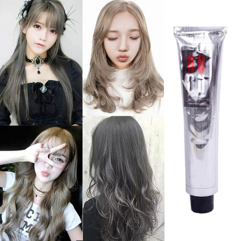 100ml crema de pelo de moda permanente Natural profesional DIY tinte pelos gris ahumado tinte gris claro Flaxen Style well S
