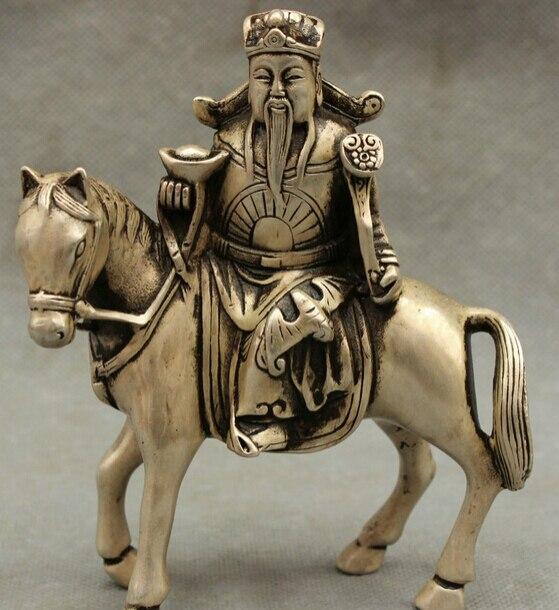 JP S0606 Chino Taoísmo FengShui Silver Horse Jambhala Riqueza YuanBao RuYi Mammon Estatua de Descuento 35%