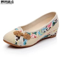 sping new women shoes old peking retro flats chinese flower embroidery canvas linen shoes sapato feminino size 35 40