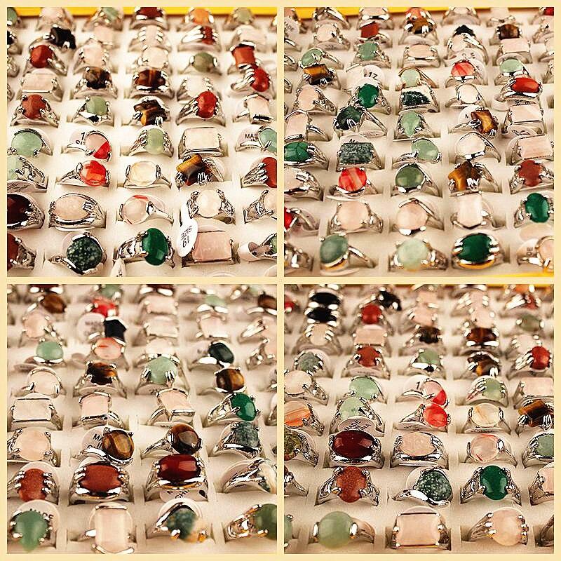 مجموعة من خواتم الزنك الملونة للنساء ، مجموعة من 100 قطعة ، مجوهرات ريترو عتيقة مطلية بالفضة مع صندوق عرض للبنات