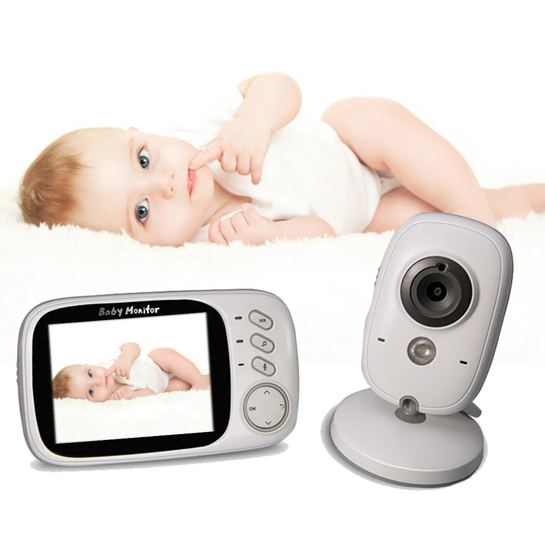 Nanny video 2,4 GHz 3,2 inch LCD Display Wireless Baby Monitor Video mit Nachtsicht Baby Phone Audio Monitor Elektronische nanny