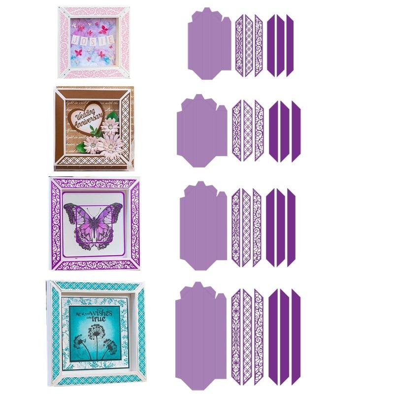 6 7 8 9 Inch Shadow Boxes Borders Metal Cutting Dies For DIY Scrarpbooking Embossing Cards Making Decorative Crafts New 2019 Die