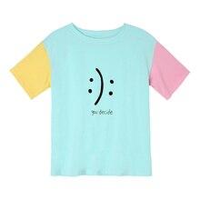 Vous décidez Kawaii été T-Shirt drôle haut harajuku K-pop Kawaii T-Shirt coton T-Shirt femmes Patchwork Pastel hauts Hipster T-Shirt