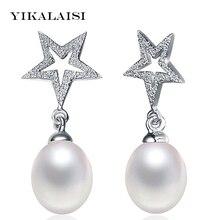 YIKALAISI 925 bijoux en argent sterling étoile naturel deau douce goujon perle boucles doreilles bijoux pour les femmes 8-9mm perle taille