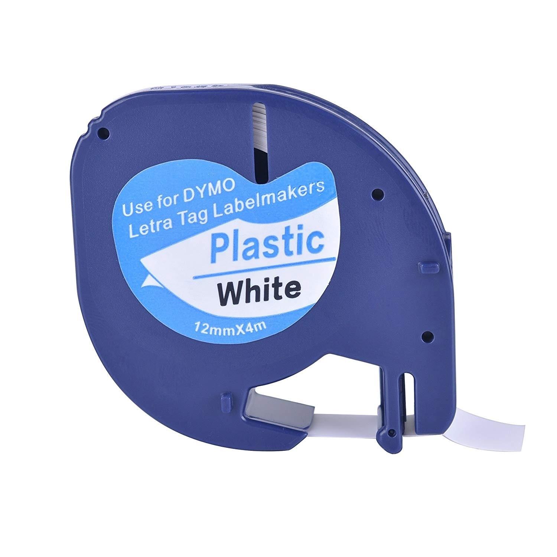 1 совместимый с dymo LetraTag 91201 черный на белом (12 мм x 4 м) пластиковые ленты для этикеток для LT-100H, LT-100T, LT-110T, QX 50, XR, XM,