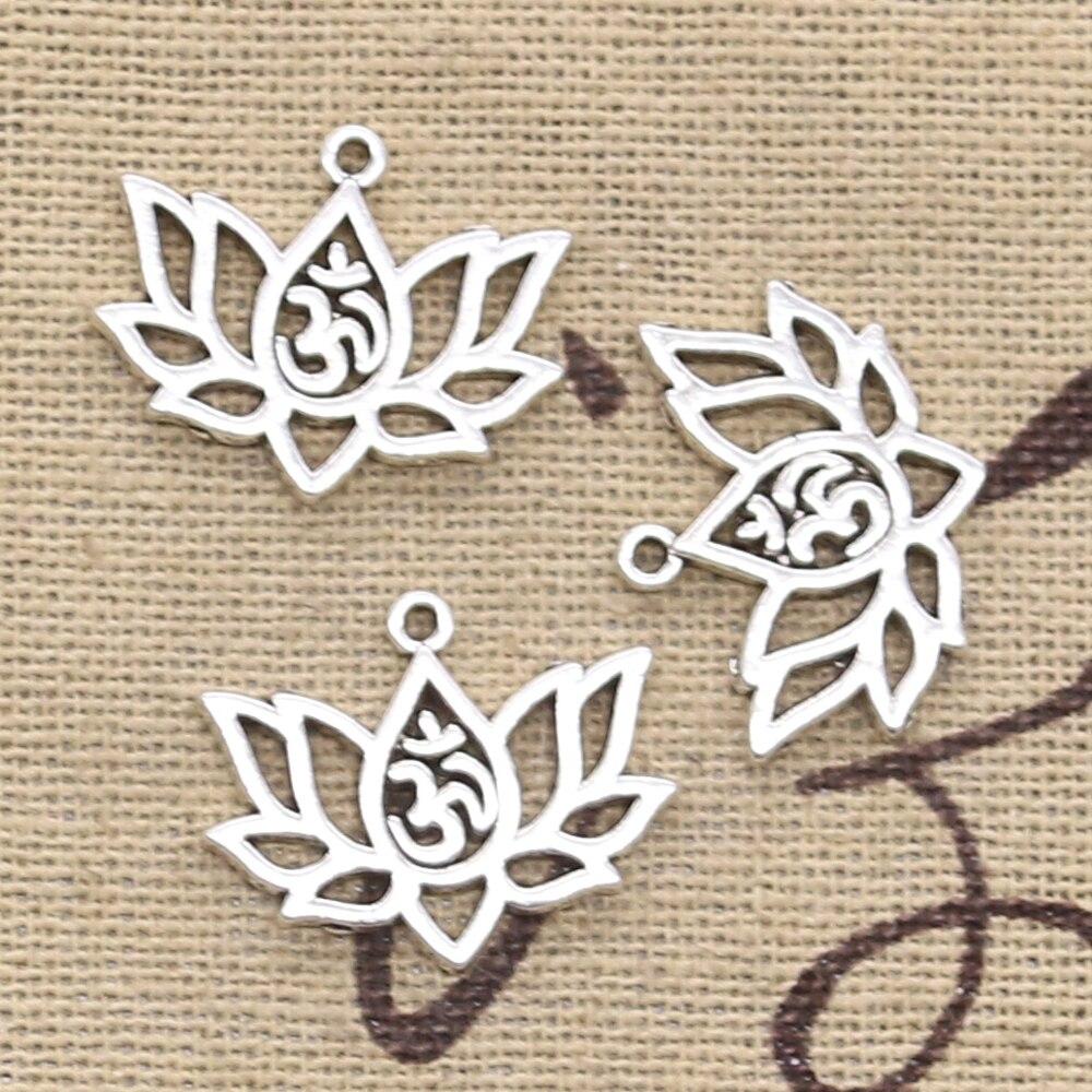 8 pçs encantos flor de lótus yoga om 21x17mm antigo fazer pingente caber, cor prata tibetana do vintage, diy jóias artesanais