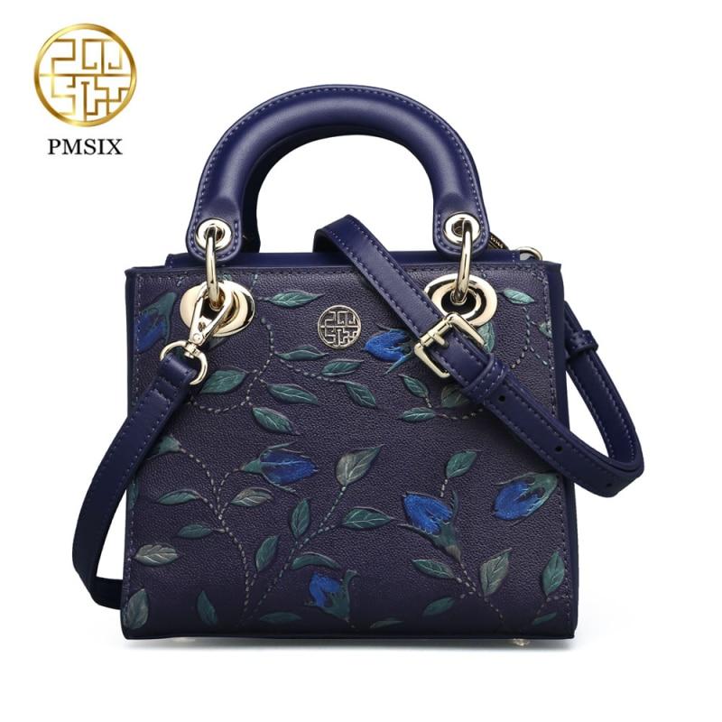 Pmsix 2020, bolso de mano para mujer de cuero genuino en relieve, bandolera de cuero de vaca de alta calidad para mujer, bandolera Casual de diseñador