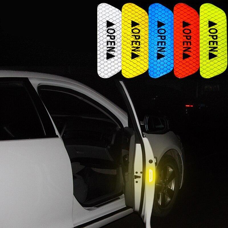 4 шт. Автомобильная отражающая лента Предупреждение ющая отметка наклейка Аксессуары для Audi a4 b8 HYUNDAI IX35 Solaris Opel Mokka kia sportage