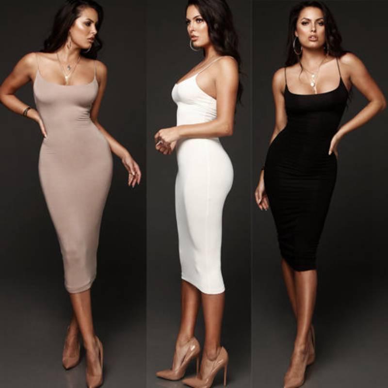 Vestido Midi ajustado y corto para mujer, vestido ajustado para fiesta y discoteca