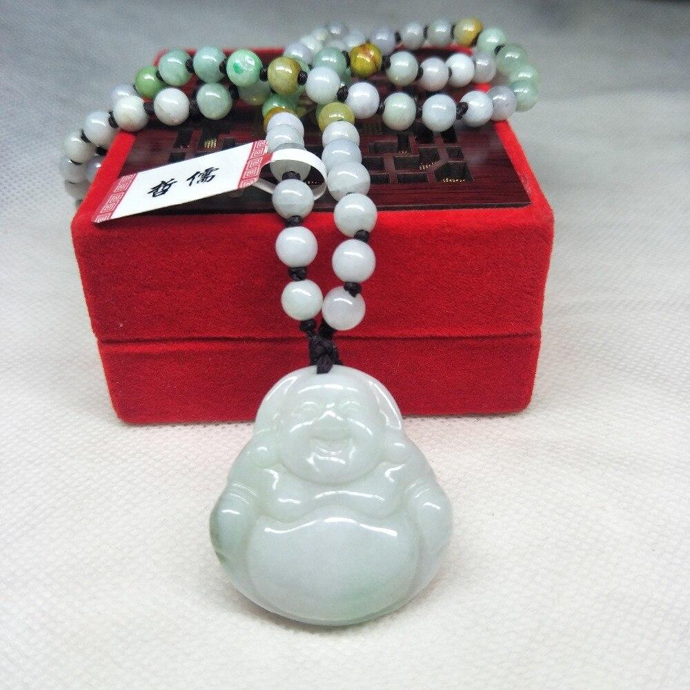 Zheru joyería pura de jadeíta natural luz verde Color doble colgante de Buda Tricolor Jade collar de cuentas de una clase un certificado