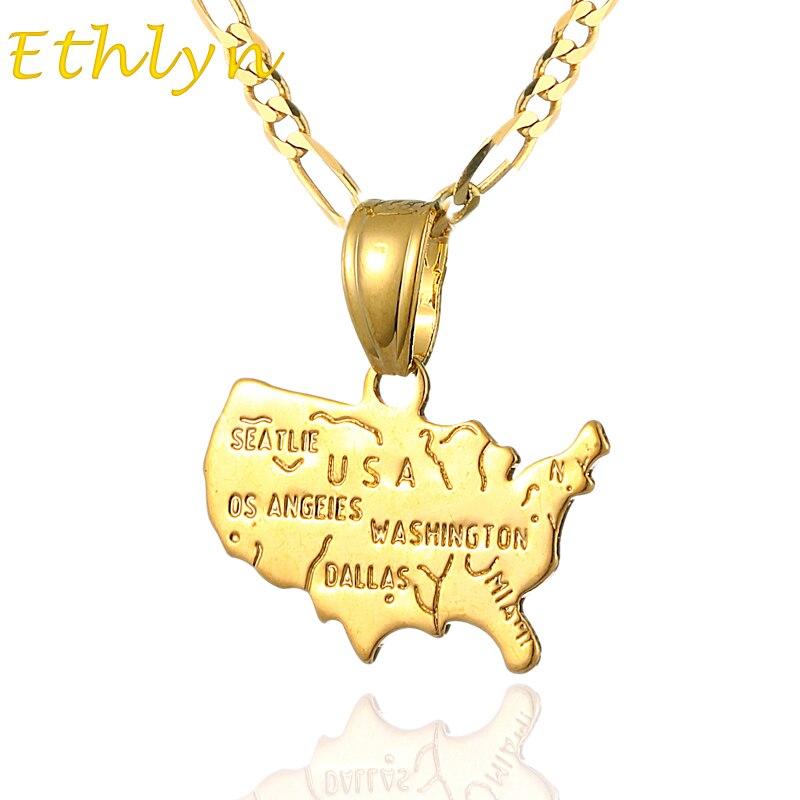 Ethlyn USA mapa colgante collar Color oro cobre mapas americanos colgante accesorios P19