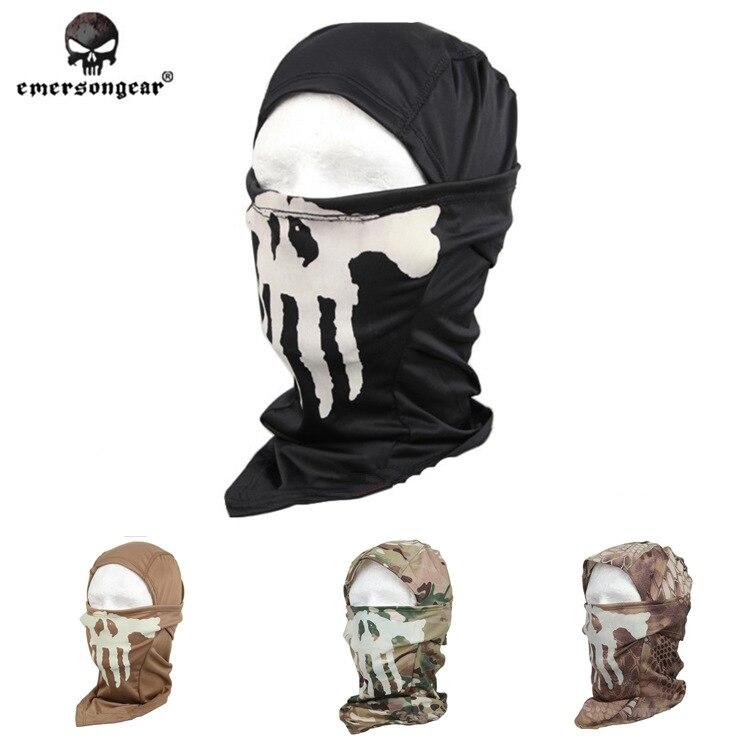 EMERSON fantôme MULTI capuche masque lumineux écharpe camouflage militaire EM6634 Skullies chasse casquettes Anti-terrorisme masque CS tactique