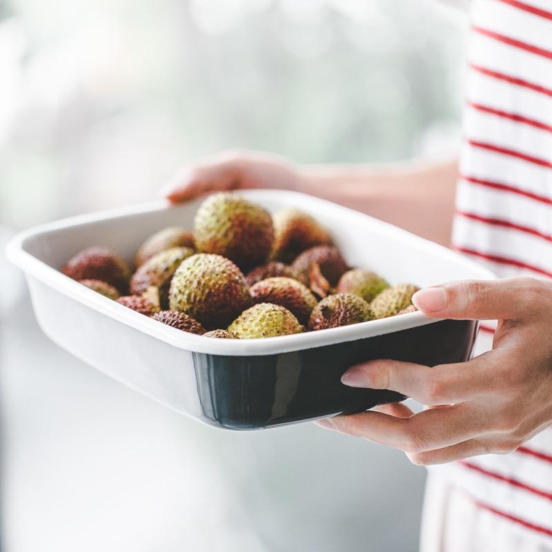Cubierta de caja de preservación Multi purpos, caja sellada, plato esmaltado de porcelana de cocina, bandeja de pan de plabaking, plato para hornear comal