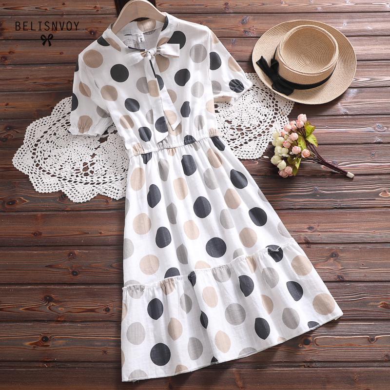 Mori Girl verano mujeres volantes vestido arco Collar Polka Dot dulce vestido suave elegante Femininos Vestidos de algodón coreano chic vestido