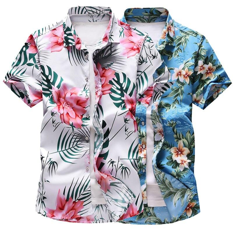 11-color camisa hawaiana para hombres 2019 novedad de verano estilo moda Casual de gran tamaño de manga corta Camisa de playa de flores ropa de marca masculina