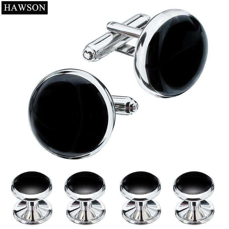 Hawson smoking camisa abotoaduras botões formais 3 cores opcionais preto esmalte abotoaduras conjunto de botões