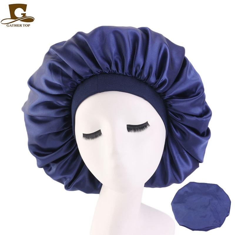 9 pcs/lot Elasticity Wide-brimmed Women Turban Hat Large Print Silk Bonnet Sleep Cap Bonnet Women Turban Hat for Hair