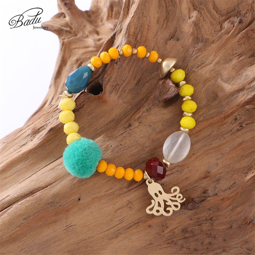 Badu Colorful Bracelet Elastic Rope Adjustable Size Crystal Beaded Bracelets for Women Green Pompom Charms Wholesale
