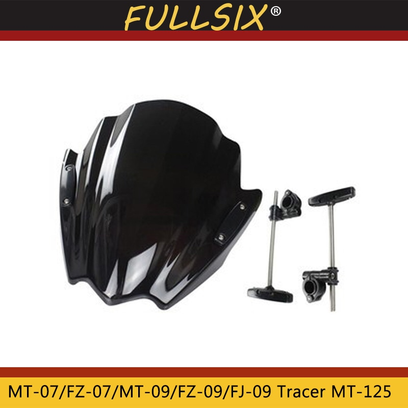 Moto parabrisas Viser VIsor de vidrio frontal para Yamaha MT-07 MT07 FZ-07 MT-09 MT09 FZ-09 FJ-09 rastreador MT-125 MT