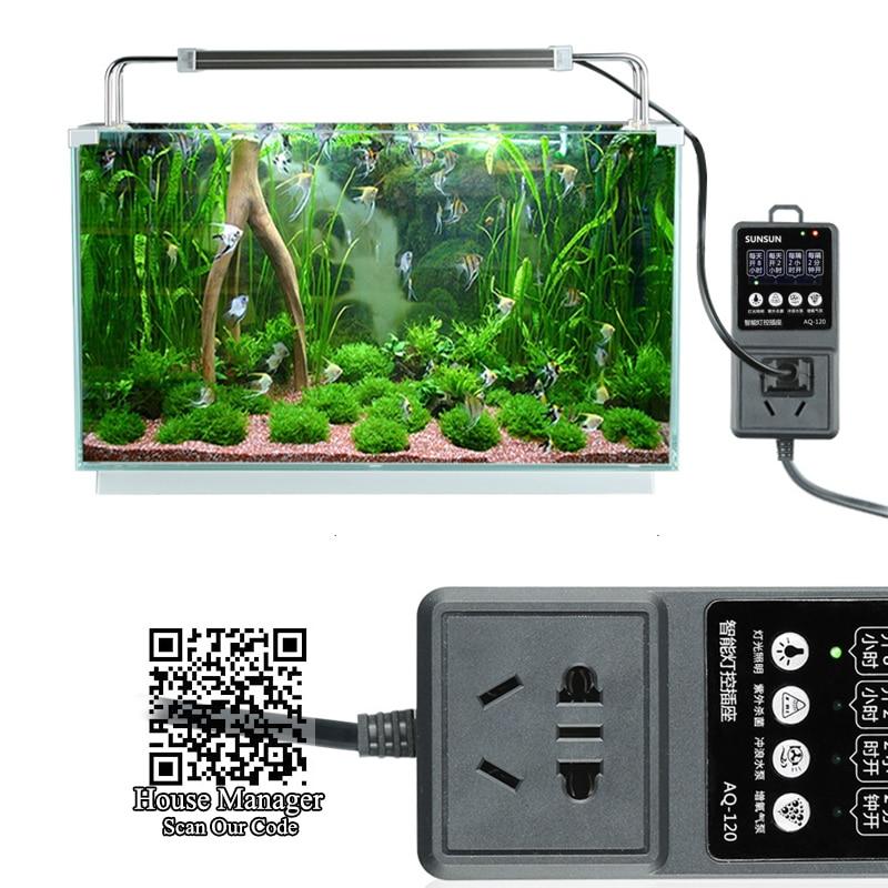 Таймер для аквариума гнездо набор времени для управления водяного фильтра волна насос + аквариум светодиодный светильник + УФ-лампа + воздушный насос контроллер
