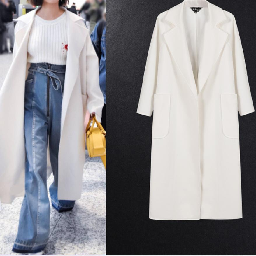 معطف نسائي أبيض طويل للخريف والشتاء ، معطف كشمير كبير الحجم دافئ ، عصري ، تصميم جديد