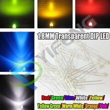 30 Uds 1,8mm rojo amarillo azul verde blanco amarillo verde naranja blanco cálido rosa Ultra brillante agua transparente DIP LED transparente