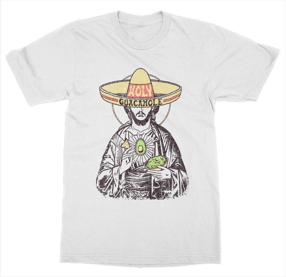 Santa Guacamole camiseta fruta fresca dieta comer salud comida hundida aguacate Jesús 2019 gran oferta hombres manga corta cuello redondo Camiseta de verano