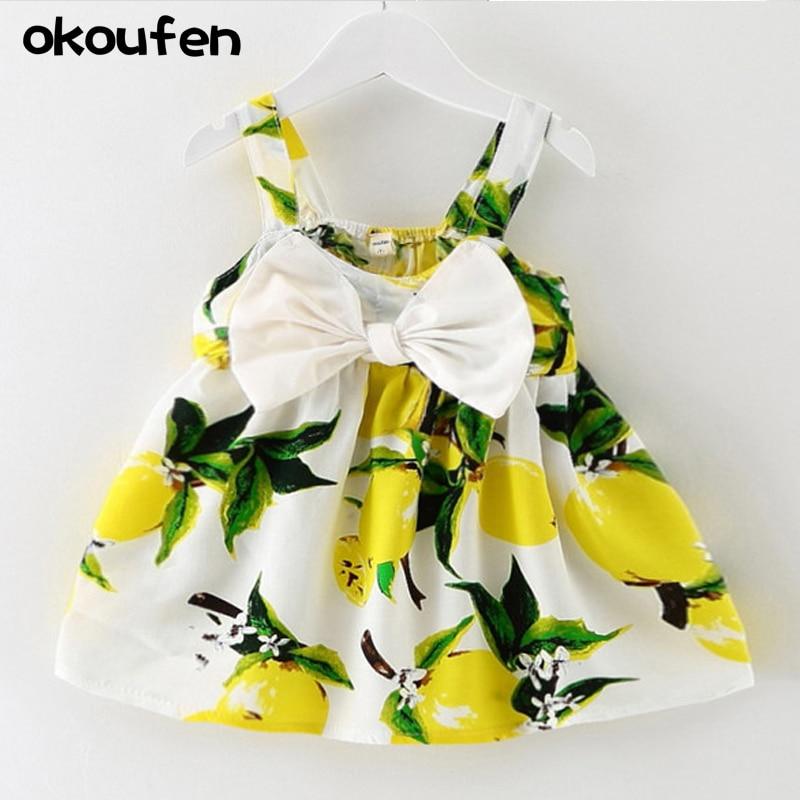 2018 new baby dresses for girls Children kids clothes summer flower plants print girls dress bow toddler dress retail