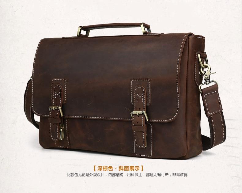 Mens Briefcase Genuine Leather Shoulder Crossbody Purse Business Handbag Vintage Laptop Travel Crazy Horse Man Male Bags Gift