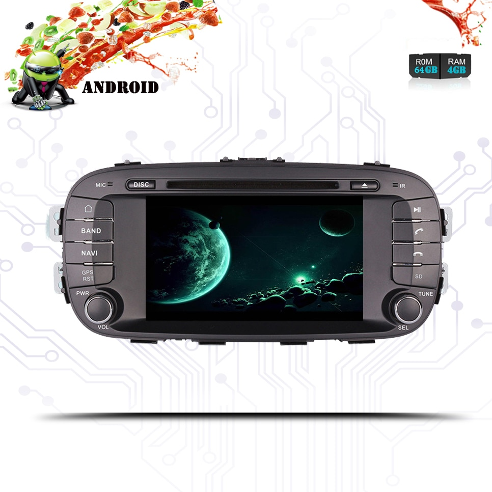 Octa Core Android 10,04G RAM DVD del coche Gps Navi de música y audio/v glonass para KIA SOUL 2014-2016 3/4g wifi carplay usb rds dab