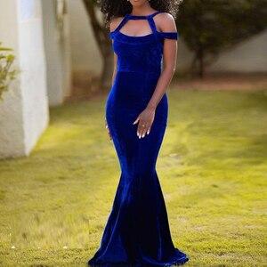 abiye Evening Dress Royal Blue Sleeveless Robe De Soirre abendkleider Velvet Evening Dresses Off Shoulder Mermaid Formal Gowns