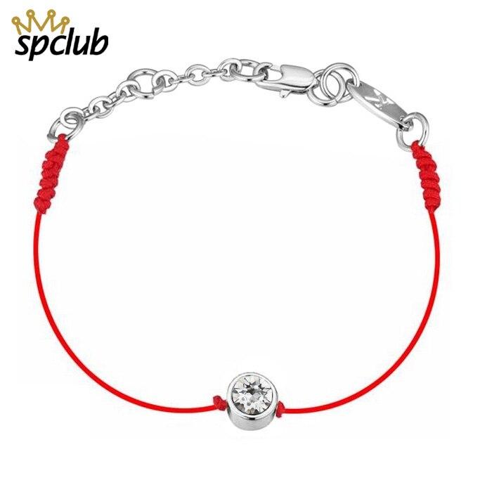 Cristales redondos de Swarovski pulsera de la suerte para las mujeres niños cadena roja hecha a mano Pulseras de Moda DIY joyas