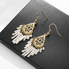 Pendientes de declaración Shineland, pendientes geométricos con borlas Vinatge para mujer, Pendientes colgantes, joyería de fiesta brincos N50
