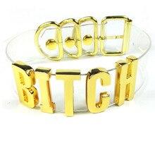 100% fait à la main Cosplay Punk Pub Club partie Choker lourd collier de chienne 35 MM de hauteur lettre or collier clair PVC vinyle collier