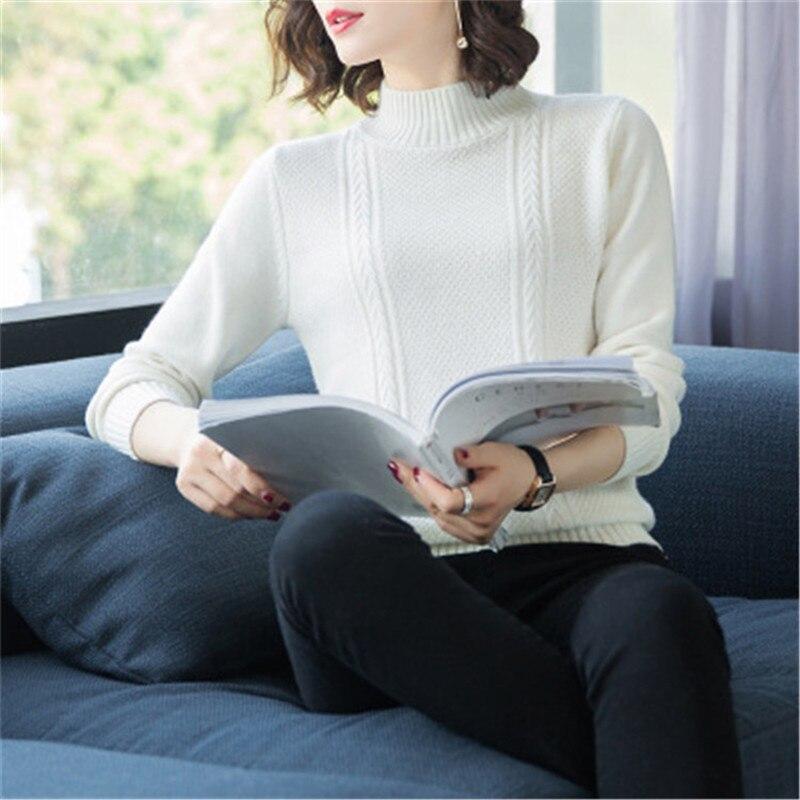 Nouveauté pure chèvre cachemire solide torsadé tricot femmes demi col haut court pull noir 4 couleurs M-XL