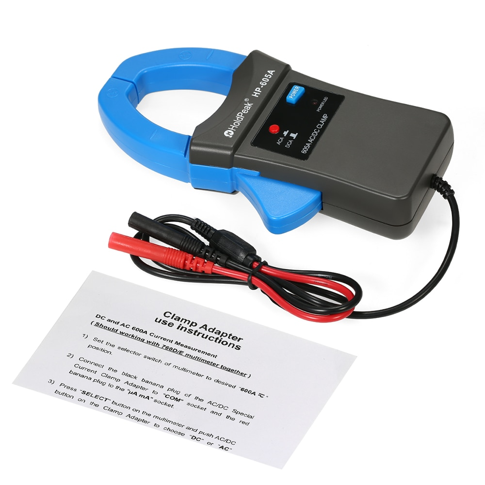 HoldPeak цифровой клещи 600A DC/AC токовый Зажим адаптер зажим-на мультиметр Амперметр с тестовыми зондами