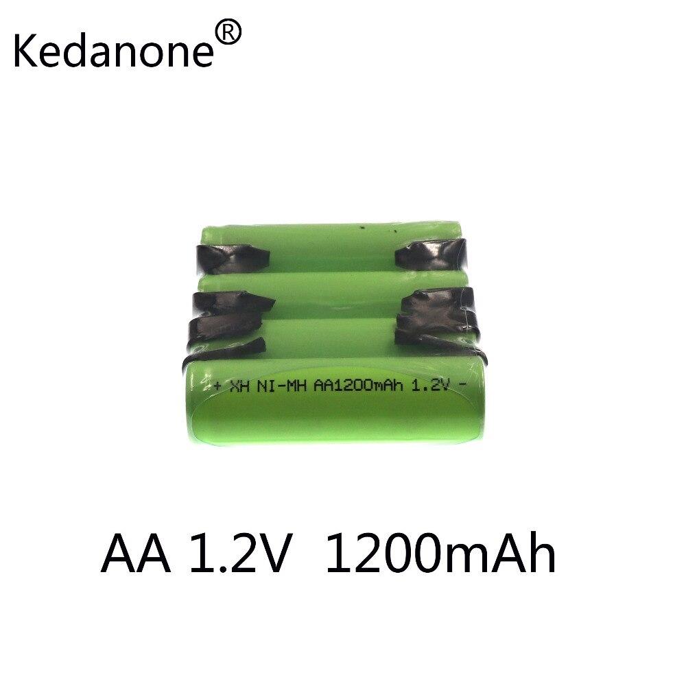 2 uds Kedanone AA batería recargable 1,2 V 1200mah Ni-MH 14430 con placa de níquel soldado batería de afeitadora DIYelectric