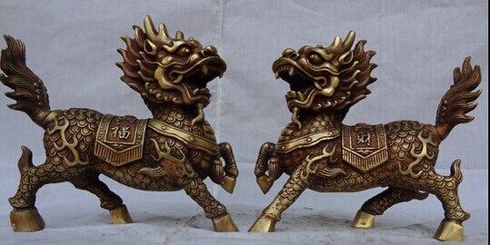 "WBY+++ free shipping 9"" Folk Chinese Bronze Guardian Zhao Cai Dragon Kylin Unicorn Beast Statue Pair"