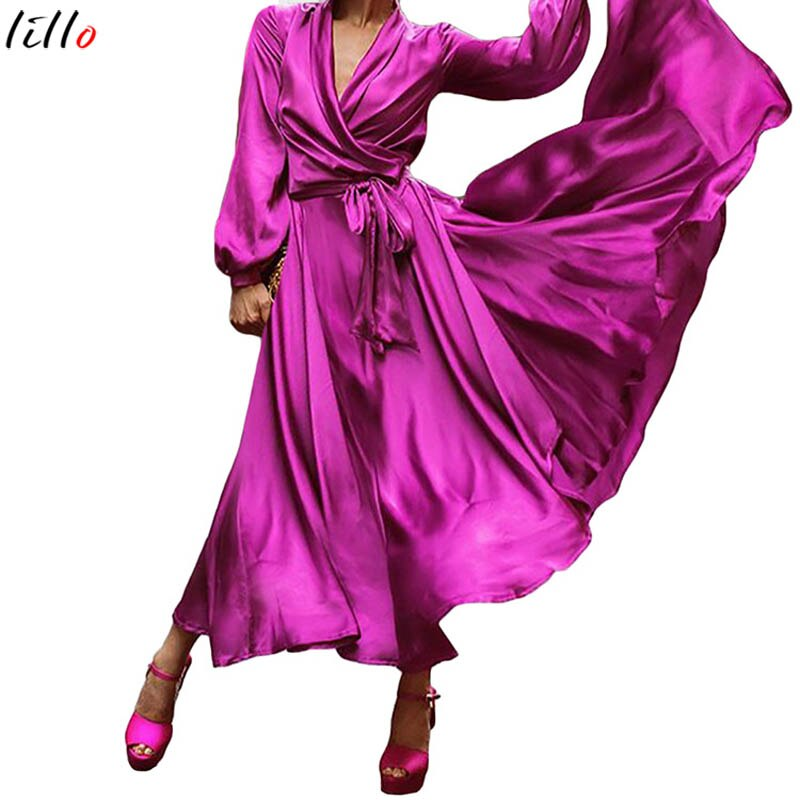 Purple retro temperament dress loose belt V zero women party party dress elegant temperament solid color long-sleeved dress summ