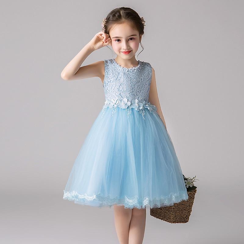 Elegant Summer Mesh Sky Blue Little Girls Ball Gowns Princess Kids Junior Bridesmaid Dresses Evening Prom Party Vest Sundress