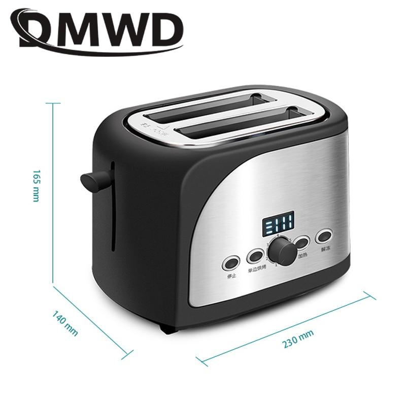 DMWD Digital Timer Electric Toaster Sandwich Maker Automatic Bread Toast Oven Breakfast Baking Machine 2 Slices Grill EU US Plug