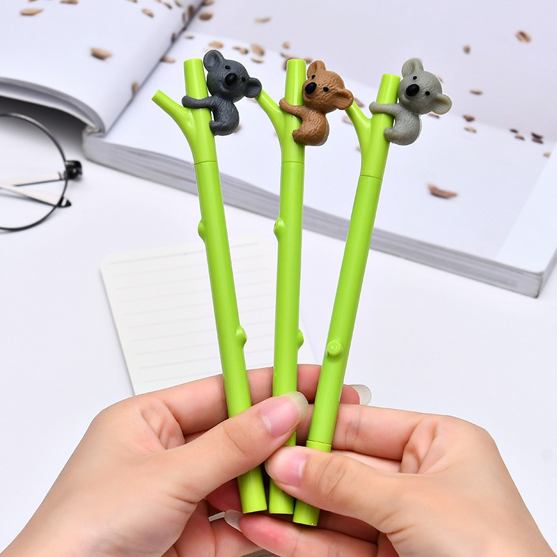 3 teile/los Nette Tier Kugelschreiber Stift Kreative Schreibwaren Gel Ink Pen 0,5mm Schwarz Stifte Student Schule Büro Schriftlich Liefert