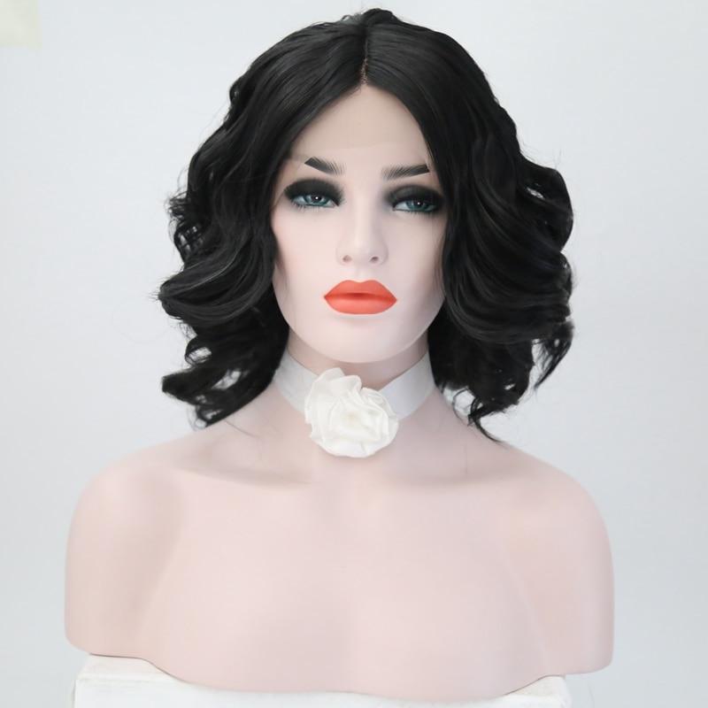JOY&BEAUTY 12Inch Black Lace Front Wigs Short Wavy Wig Heat Resistant Fiber Synthetic Hair For Women
