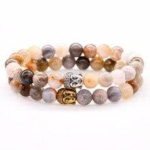 Pierre naturelle Onyx perle extensible Bracelet tête de bouddha prière breloque Bracelets pour femmes hommes Bracelet bambou feuilles bijoux
