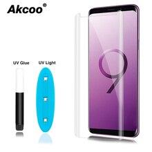 Akcoo S9 Plus защита для экрана с УФ-жидким клеем для Samsung Note 8 Note 9 S8 Plus S6 S7 edge полностью клеящаяся стеклянная пленка для экрана