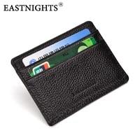 eastnights genuine leather card holder business credit card holder women men cow leather slim wallets tw0490