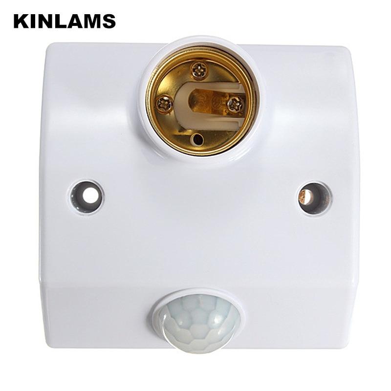 KINLAMS LED E27 人体誘導ランプホルダー 110 V-220 V 自動ボディ赤外線 IR センサー調整可能な時間感度ホルダー