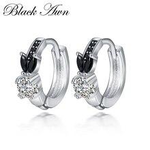 Black Awn Romantic 925 sterling silver rabbit Engagement Hoop Earrings for Women Black Spinel Stone Jewelry Bijoux TT166